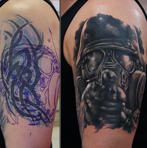 Simple Biochemical Soldier Cover Up Tattoo With Colourful Ink For Man And Woman