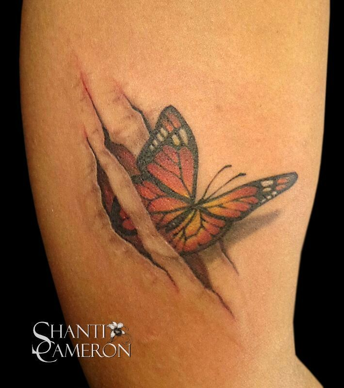 Superb Black And REd Color Ink 3D Butterfly Rip Skin Tattoo On Arm For Girls