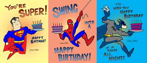 Superman ,Spiderman & Batman Funny Happy Birthday Wishes Graphics