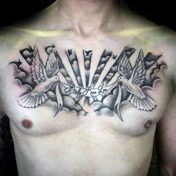 Sweet Banner Dove Birds And Cloud Tattoo For Men Chest