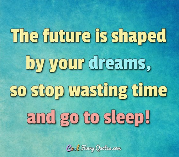 The future is shaped by your dreams so stop wasting time and go to sleep