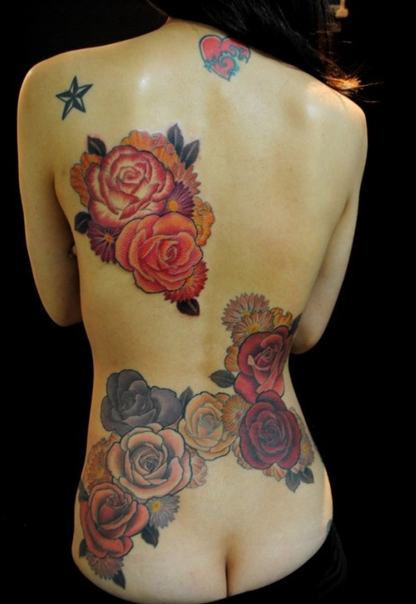 Unique Colorful Rose Flower Tattoo Ideas For Women Back Body
