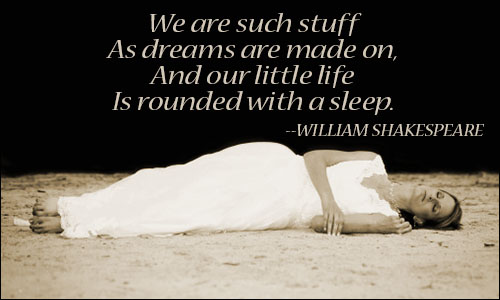 We are such stuff as dreams are made on and our little life is rounded with a sleep. William Shakespeare