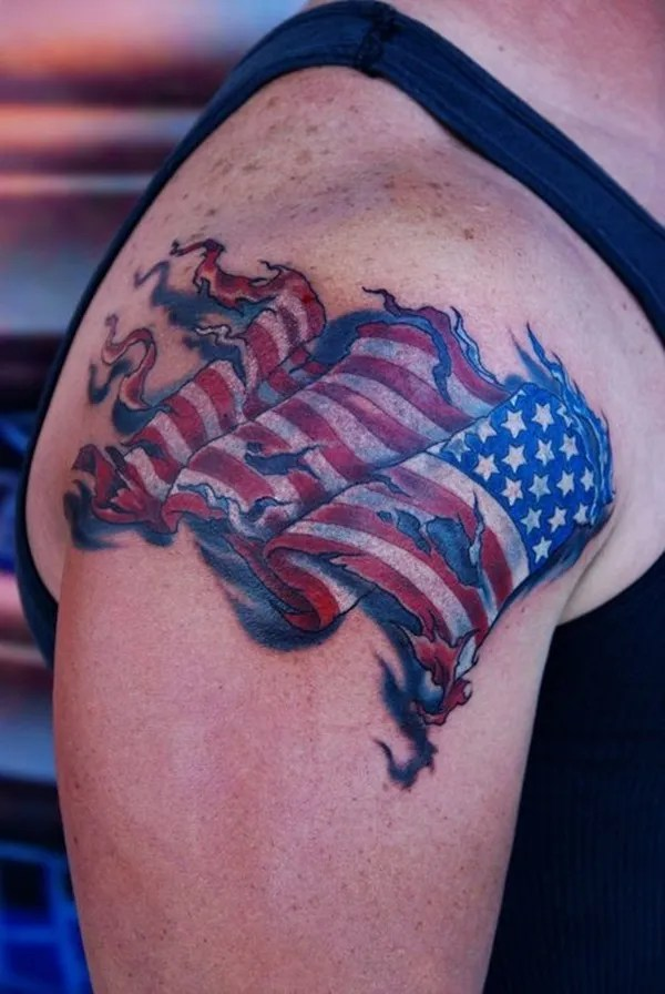 Wonderful 3d Ripped American Flag Tattoo For Men Shoulder