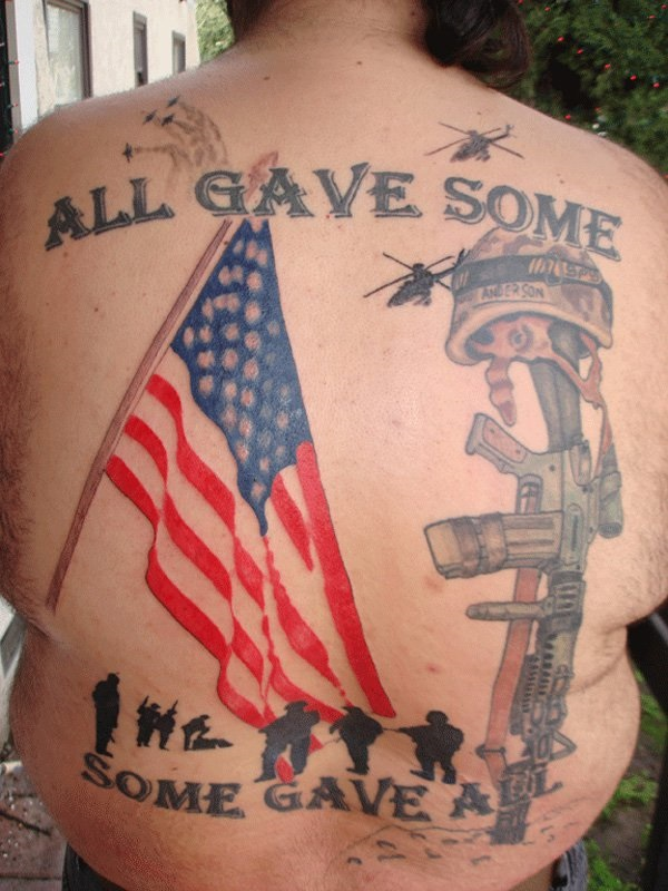 Wonderful Army Gun American Flag Quote Tattoo For Men Back Body