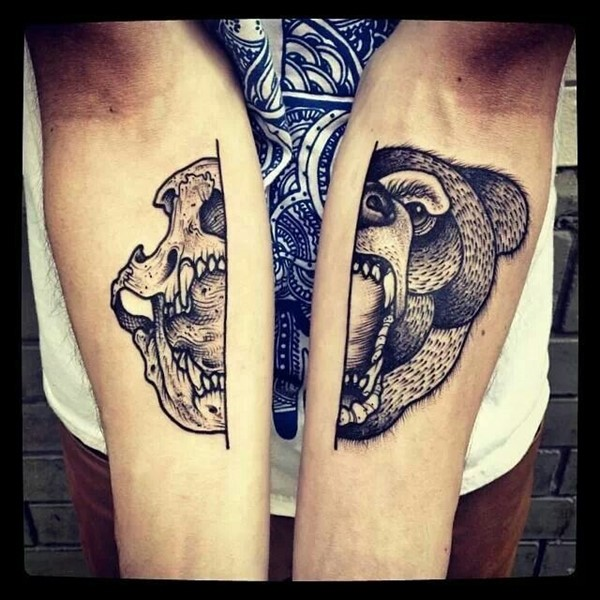 wonderful half bear face and skull skull tattoo for both arm picsmine. Black Bedroom Furniture Sets. Home Design Ideas