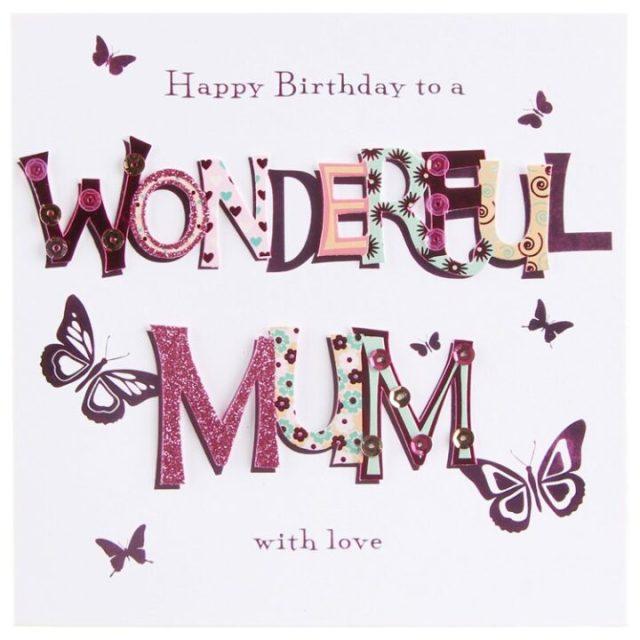 Wonderful Happy Birthday Mum With Love Greeting Image