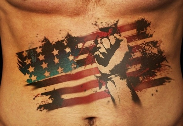 Wonderful Old American Flag Punch Tattoo For Men Abs