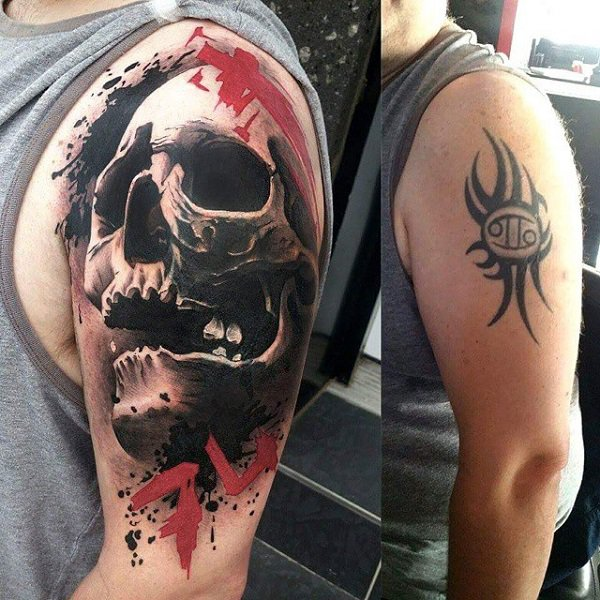 Amazing 3D Skull Cover Up Tattoo With Black Ink For Man And Woman