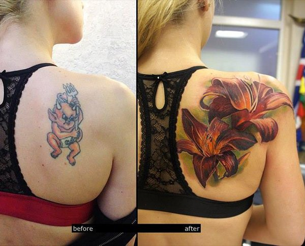 Amazing 3D Lily Cover Up Tattoo On Back With Colourful Ink For Man And Woman