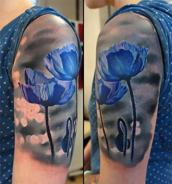 amazing Blue poppies on arm With colourful ink For Man And Woman