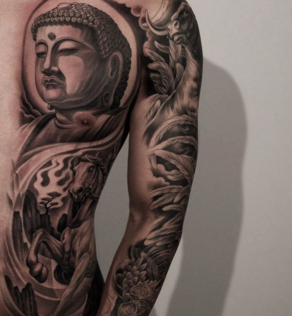 Amazing Buddha And Horse Tattoo On Back With Black Ink For Woman Man