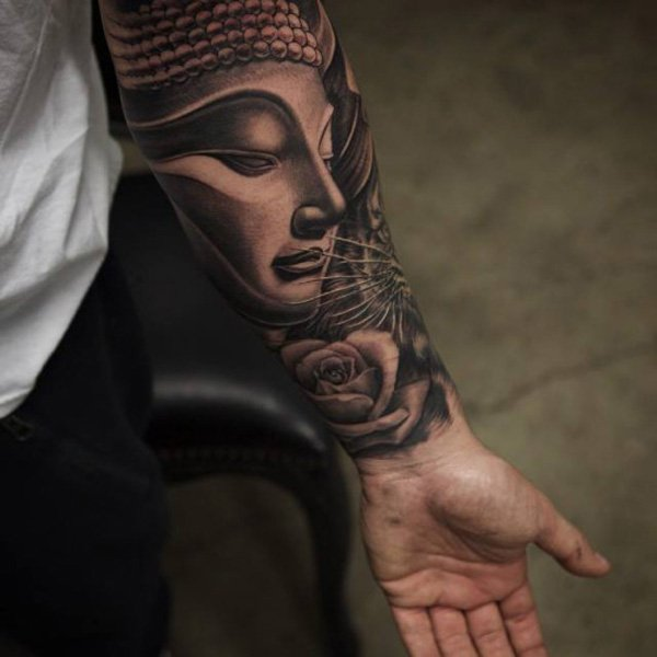 Amazing Buddha Forearm Tattoo With Black Ink For Woman Man