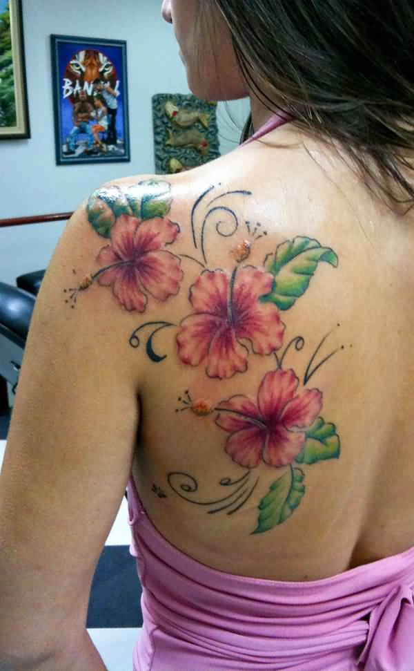 amazing Hibiscus tattoo on back With colourful ink For Man And Woman