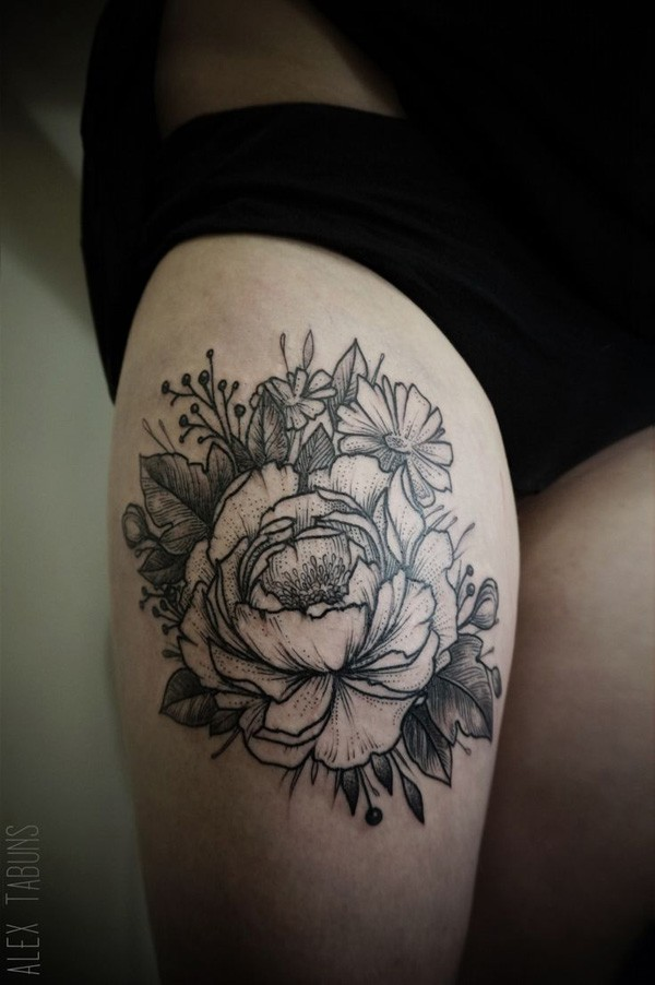 amazing Peony tattoo on thigh With Black ink For Man And Woman