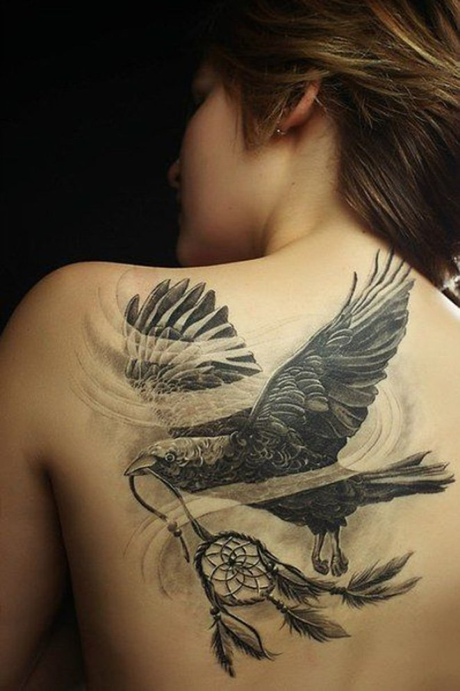 amazing Raven and Dreamcatcher Tattoo on Back with Black ink For Man And Woman