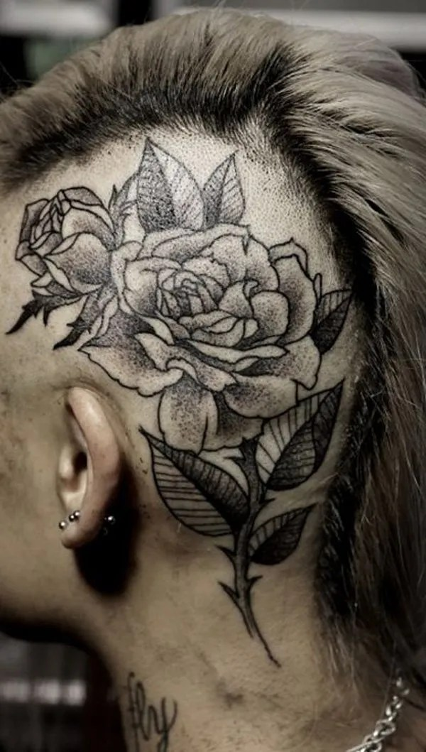 amazing Rose tattoo on the head With Black ink For Man And Woman Tattoo on Head For Man And Woman