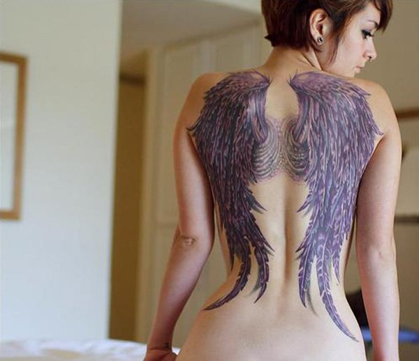 Amazing Wing Tattoo For Women On Back With Black Ink For Man Woman