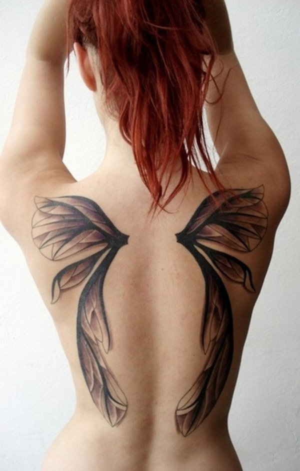 Amazing Wing Tattoo On Black With Black Ink For Man Woman