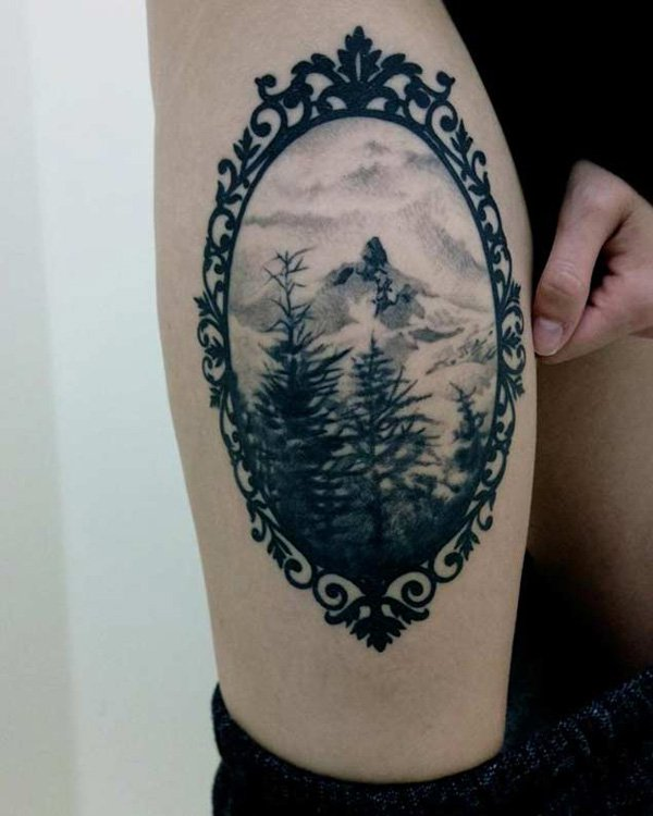amazing forest and mountain tattoo on elbow With Black ink For Man And Woman