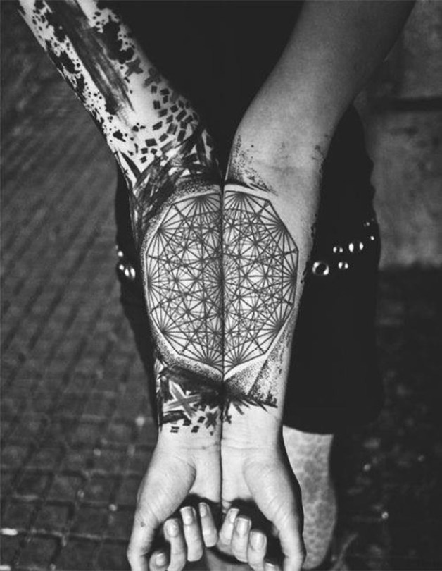 Amazing Pattern Tattoo On Full Arm With Black Ink For Man Woman Geometric Pattern Tattoo