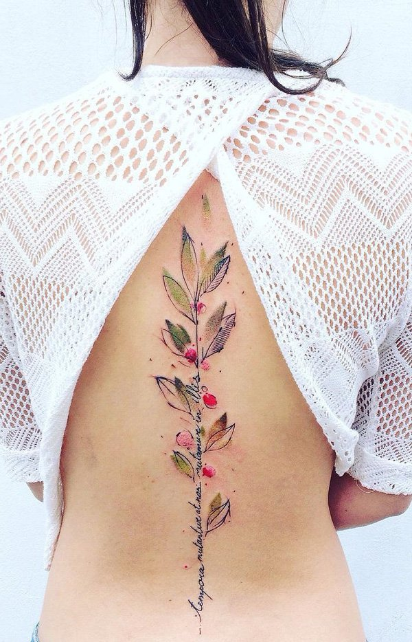 Amazing Spine Tattoo With Colourful Inl For Woman