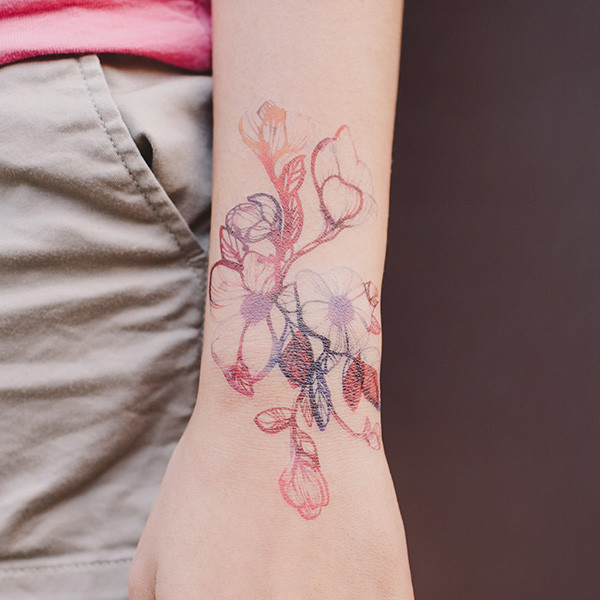 Attractive Flower Temporary Tattoos On Wrist For Man Woman
