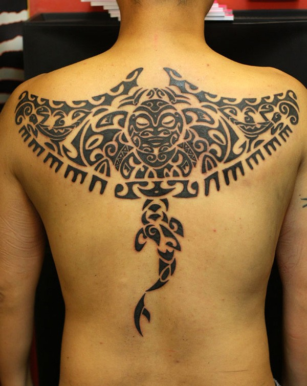 Attractive Manta Ray Tattoo On Back With Black Ink For Man And Woman