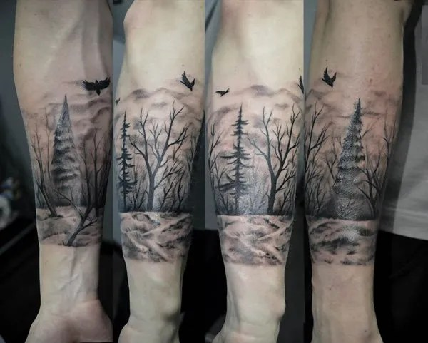 attractive forest sleeve tattoo idea on wrist With Black ink For Man And Woman