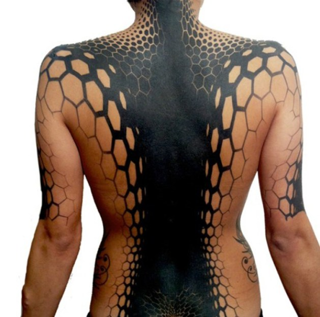 Attractive Patterns Tattoo On Back With Black Ink For Man Woman