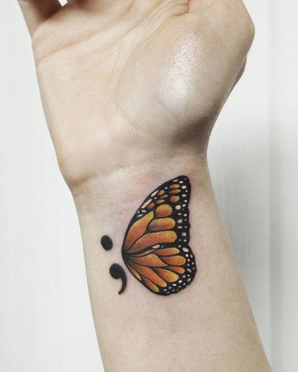Attractive Semicolon Tattoo With Black Ink For Man Woman