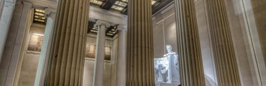 Attractive Side View Of Abraham Lincoln Statue Inside Lincoln Memorial