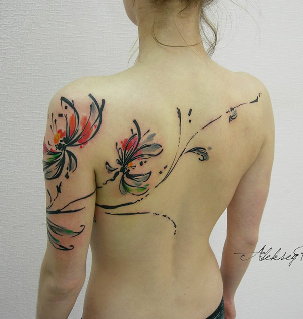 attractive watercolor chrysanthemum tattoo on back With colourful ink For Man And Woma