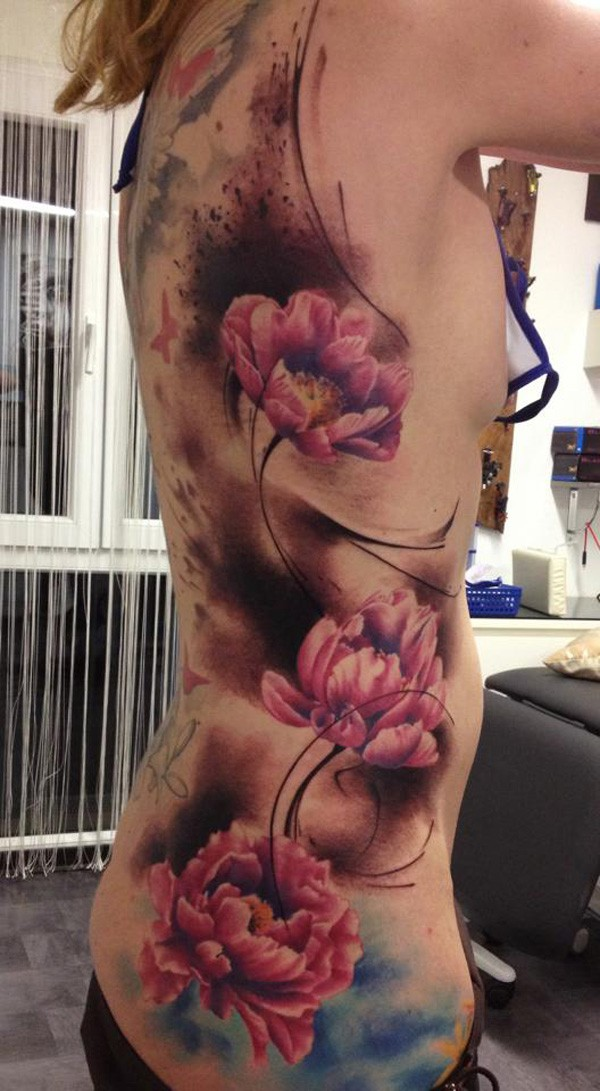 Awesome Amazing Color Tattoo On Side With Colorful Ink For Man Woman