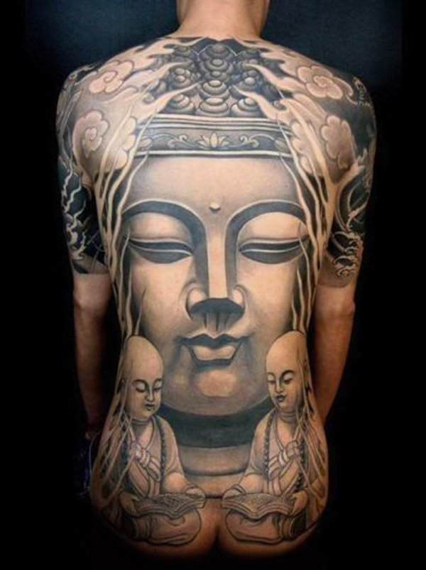 Awesome Buddha Full Back Tattoo With Black Ink For Woman Man