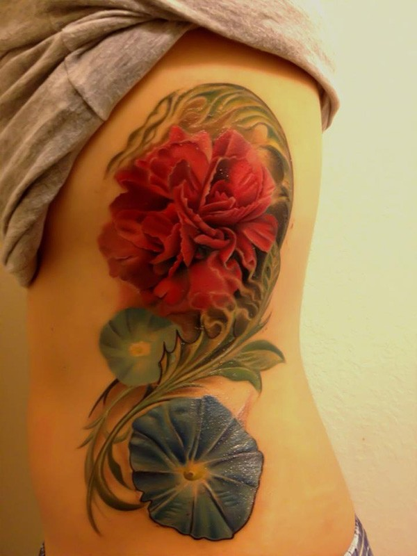 Awesome Colorful Flower Tattoo On Side With Colorful Ink For Man Woman