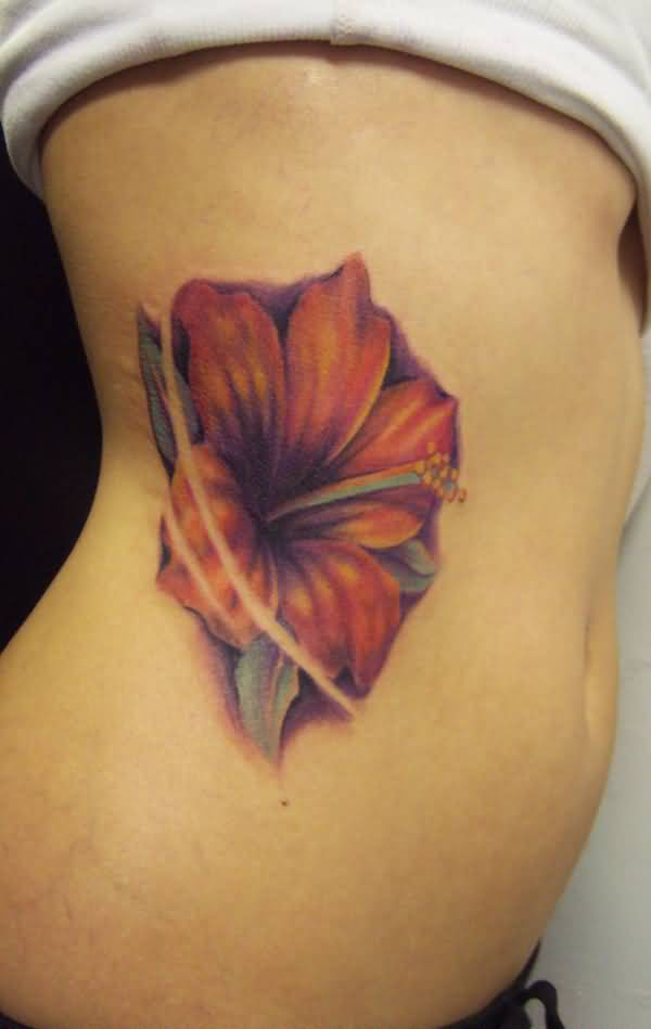 awesome Hibiscus tattoo on side With colourful ink For Man And Woman