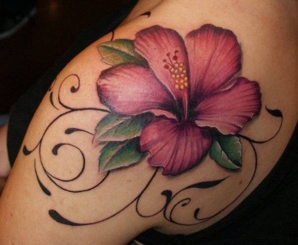 awesome Hibiscus tattoo on thigh With colourful ink For Man And Woman
