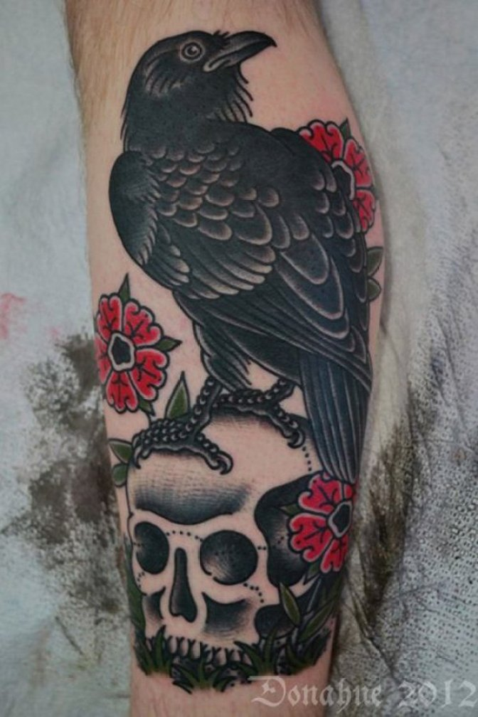 awesome Raven Tattoo on Leg for Men on arm with Black ink For Man And Woman