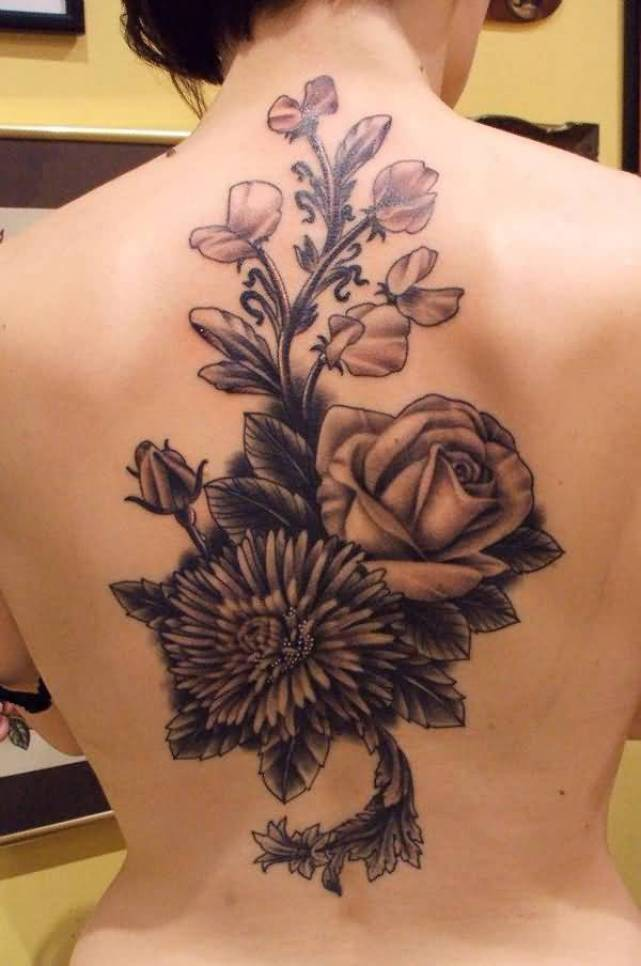 awesome chrysanthemum tattoo on back with Black ink for man & woman