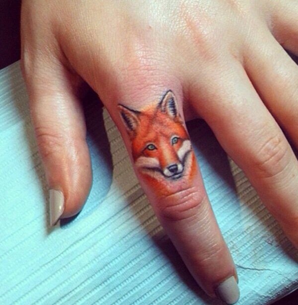 Awesome Fox Finger Tattoo With Colourful Ink For Man And Woman