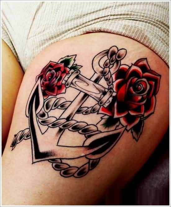 awesome red and black color ink anchor tattoo on girl's thigh