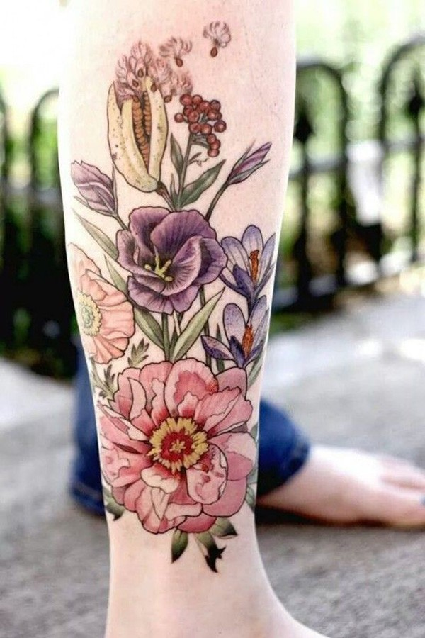 Beautiful Colourful Tattoo on Leg with Colourful Ink for Man Woman