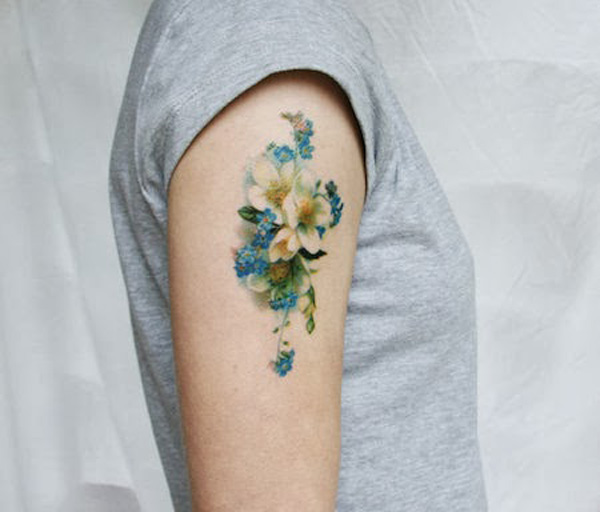 Beautiful Flower Temporary Tattoos On Arm For Man Woman