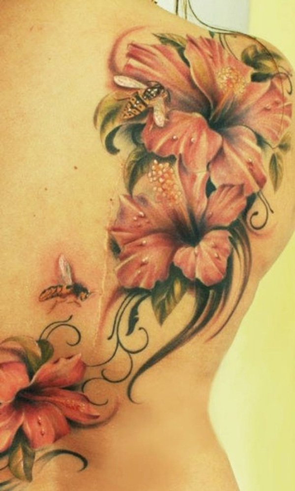 beautiful Hibiscus tattoo on back With colourful ink For Man And Woman