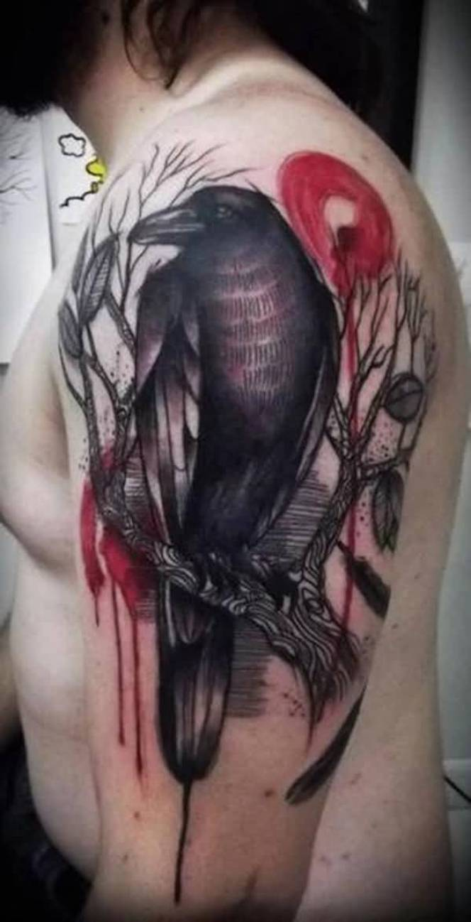 beautiful Raven and Tree Ink on Half Sleeve on shoulder with Black ink For Man And Woman