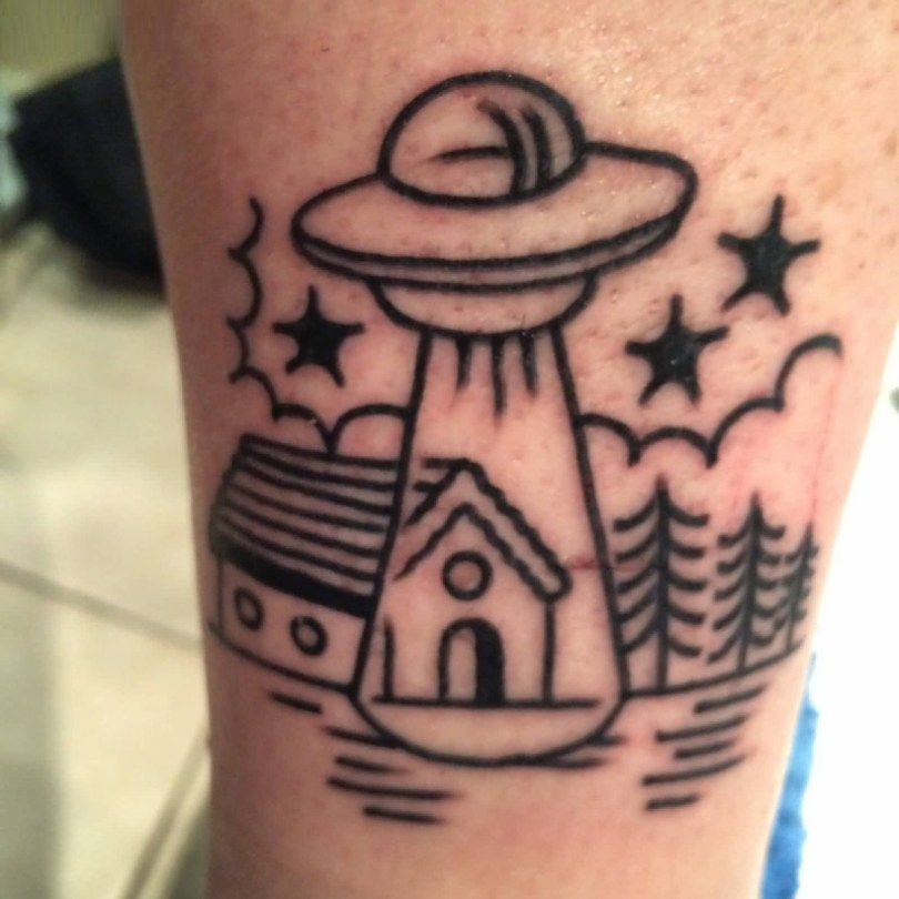 beautiful black color ink Ufo And Stars Tattoo for boys