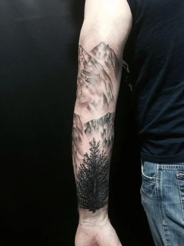 beautiful forest and mountain sleeve tattoo on arm With Black ink For Man And Woman