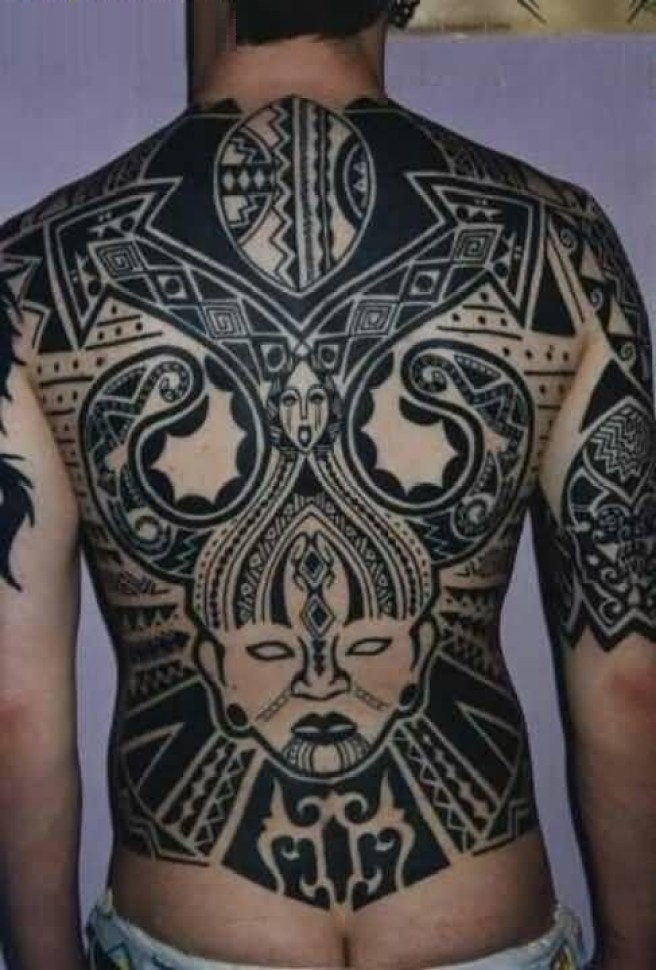 Beautiful Gray Color Ink Mask Tatto Cover Up Full Back Side
