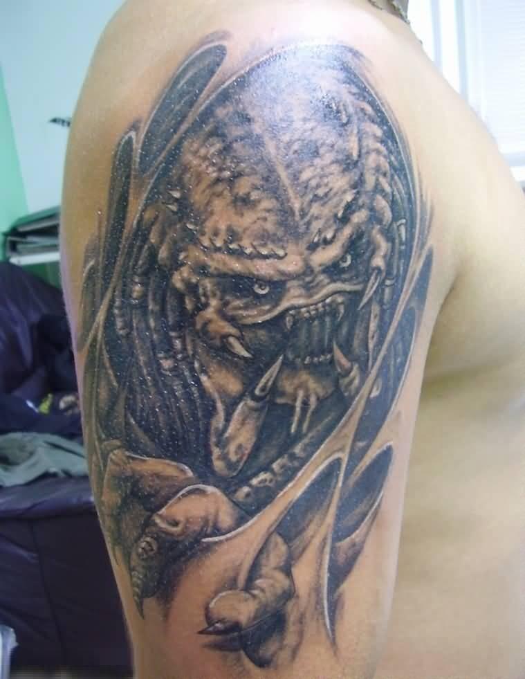 Best Ever Blue Color Ink Alien Tattoo On Man Shoulder For Man